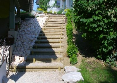 Escaliers en rondin